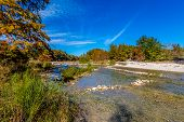 stock photo of crystal clear  - Bright Beautiful Fall Foliage On The Crystal Clear Frio River at Garner State Park in Texas - JPG