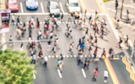 stock photo of urbanization  - Blurred defocused abstract background of people walking on the street in Orchard Road in Singapore  - JPG