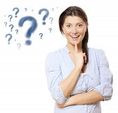 picture of question-mark  - A portrait of a young beautiful woman having am idea over white background - JPG
