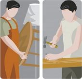 A set of 2 vector illustrations of carpenters. 1) Carpenter holding a table. 2) Carpenter using a ha