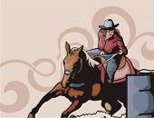 stock photo of barrel racing  - Western Background Series - JPG