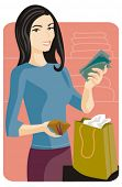 Shopping vector illustration series. Shopping girl. Check my portfolio for much more of this series