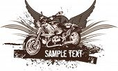 picture of street-rod  - Vector grunge background with a hot rod motorcycle and wings - JPG