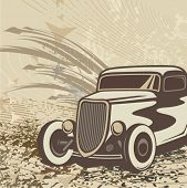 picture of street-rod  - Hot rod background with a retro car - JPG