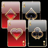 foto of playing card  - playing cards gold and diamond gold style - JPG
