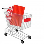 foto of thrift store  - shopping cart with present - JPG