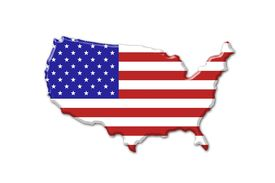 pic of united states map  - United States of America flag and map over white - JPG