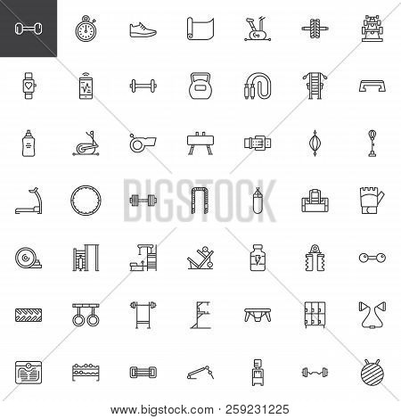 poster of Gym Equipment Outline Icons Set. Linear Style Symbols Collection, Line Signs Pack. Vector Graphics.