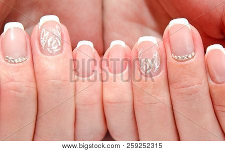 Woman\'s Nails With Beautiful French Manicure Fashion Design Poster ...