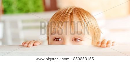 poster of Cute Little Boy Hiding Behind A Bench Outdoors. Child Having Fun Outside. Game Of Hide And Seek. Pla