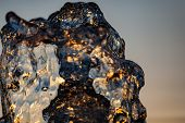 Close-up View Of The Water With Lots Of Pouches. Close-up Of A Fountain. Abstract Water Background.  poster