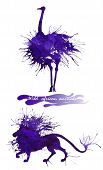 Wild African Animals. The Ostrich And The Lion. Natural Cliparts For Wedding Design, Artistic Creati poster