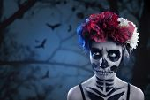 Woman Art Make Up. Scary Skull Make-up For Halloween. Face-art Body-art Is Painted, Paints For Body  poster