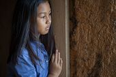 Portrait Of A Poor Little Thailand Girl Lost In Deep Thoughts, Poverty, Poor Children poster