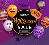 Sale Banner For Happy Halloween Holiday With Lettering On Geometric Background With Monster Balloons poster