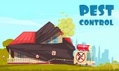 Pest Control Outside Illustration With View Of House Under Disinfection Procedures With Disinfectors poster
