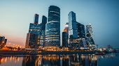 Panoramic View Of Moscow City And Moskva River After Sunset. New Modern Futuristic Skyscrapers Of Mo poster