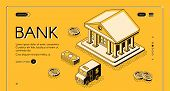 Bank And Money Isometric Thin Line Vector Illustration Of Dollar Money And Cash Cit Van. Business An poster