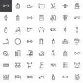 Gym Equipment Outline Icons Set. Linear Style Symbols Collection, Line Signs Pack. Vector Graphics.  poster