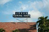 stock photo of jesus coming soon  - Jesus coming soon sign - JPG