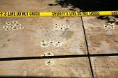 stock photo of crime scene  - crime scene investigation with real sheriff  - JPG