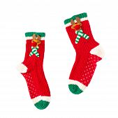 Christmas Red Green White Cute Reindeer Fuzzy Gripper Socks Isolated On White Background (clipping P poster