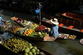 Floating market in Damnoen Saduak near Bangkok, Thailand.