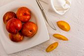 Yellow And Orange Plums (variety Known As Honey Or Mirabelle). Color Yellow, Orange, Orange. Healthy poster