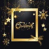 Merry Christmas And Happy New Year, Golden Glitter Of Christmas Elegant Frame With Diamond Dust Shin poster