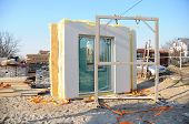 Modular Frame Plywood Board Panel Walls House On The Home Construction Site. Structural Insulated Pa poster