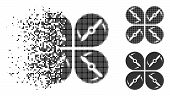 Airdrone Screws Rotation Icon In Dispersed, Dotted Halftone And Undamaged Versions. Pieces Are Combi poster
