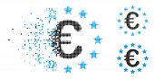 European Union Icon In Dispersed, Pixelated Halftone And Undamaged Versions. Particles Are Grouped I poster