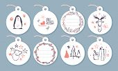 Vector Collection Of Christmas Cards, Gift Tags And Badges Isolated On Light Background. Emblems For poster