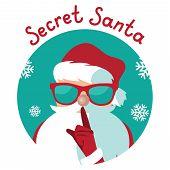 Cartoon Secret Santa Christmas Illustration Shushing You With His Finger poster