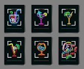 Neon Colors On A Black Background Cocktail Party Vector Illustration. Various Cocktail Glasses poster