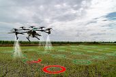 Iot Smart Agriculture Industry 4.0 Concept, Drone (in Precision Farm) Use For Spray A Water, Fertili poster