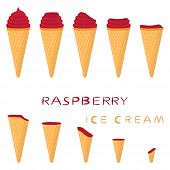 Vector Illustration For Natural Raspberry Ice Cream On Waffle Cone. Ice Cream Pattern Consisting Of  poster