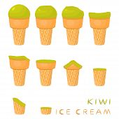 Vector Illustration For Natural Kiwi Ice Cream On Waffle Cone. Ice Cream Pattern Consisting Of Sweet poster