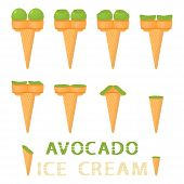 Vector Illustration For Natural Avocado Ice Cream On Waffle Cone. Ice Cream Pattern Consisting Of Sw poster