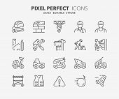 Thin Line Icons Set Of Construction And Architecture. Outline Symbol Collection. Editable Vector Str poster