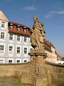 stock photo of regnitz  - Monument on bridge in Bamberg - JPG