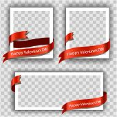 White Picture Frame On Transperent Background With Red Ribbon. Happy Valentines Day Lettering Card.  poster