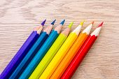 Different Colored Pencils Photo With Space For Text. Seven Pencils Of Rainbow Colors Lie On The Tabl poster