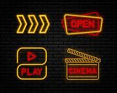 Set Neon Sign. Neon Play Sign. Neon Open Sign. Cinema Night Sign Neon. Drift Show Racing Neon. Retro poster