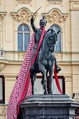 Statue Of Ban Josip Jelacic, Erected By Anton Dominik Fernkorn On The Jelacic Square In Zagreb In 18 poster
