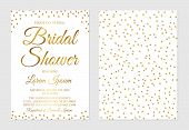 Gold Confetti Bridal Shower Invitation Card Front And Back Side. Golden Glittering Polka Dots Bridal poster