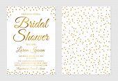 Gold Confetti Bridal Shower Invitation Card Front And Back Side. Golden Glittering Polka Dots Bridal poster