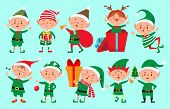 Christmas Elf Character. Santa Claus Helpers Cartoon, Cute Dwarf Elves Fun Characters Vector Isolate poster