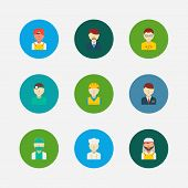 Occupation Icons Set. Indian Worker And Occupation Icons With Arab Worker, Dentist And Construction  poster
