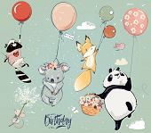Collection With Cute Birthday Fly Animals With Balloons poster